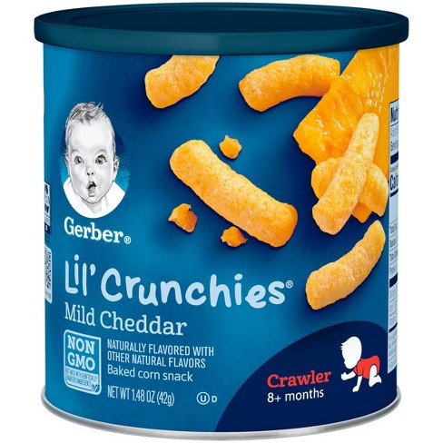 gerber lil crunchies baked whole grain corn snack mild cheddar 1 48oz