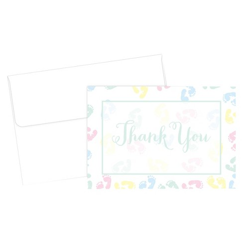 Baby Feet Border Themed Baby Shower Thank You Cards (24ct) - image 1 of 1