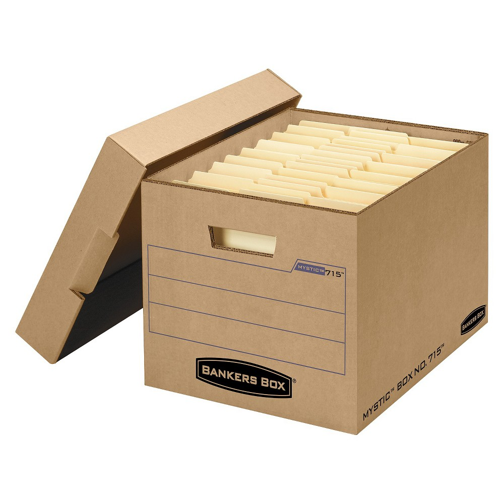 Bankers Box Filing Storage Box with Locking Lid, Letter/Legal, Kraft, 25/Carton, Wood