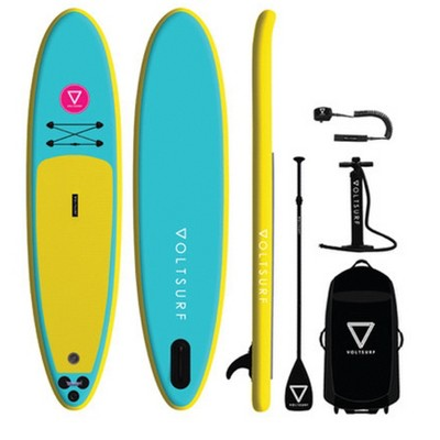 VoltSurf 11 Foot Class Act Inflatable SUP Outdoor Lake Water Sport Stand Up Paddle Board Kit with Adjustable Paddle and Manual Pump