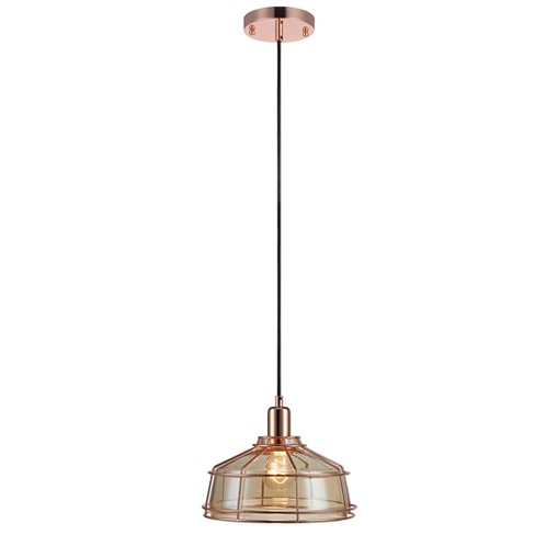 Versanora - Presenza Metal Mini Pendant Lamp with Cage - Rose Gold Finish - image 1 of 4