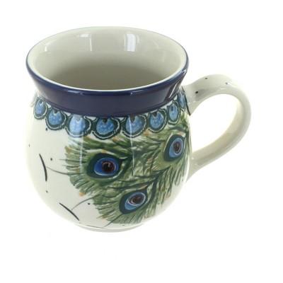 Blue Rose Polish Pottery Peacock Feather Bubble Mug