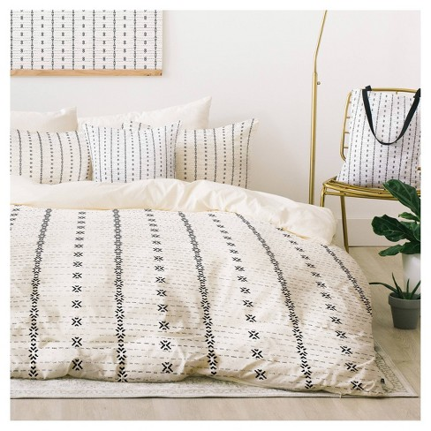 Gray Holli Zollinger French Geometric Stripe Duvet Cover Set Queen Deny Design Target