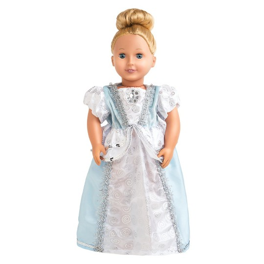 Little Adventures Doll Dress - Cinderella, Size: One Size, Blue White image number null