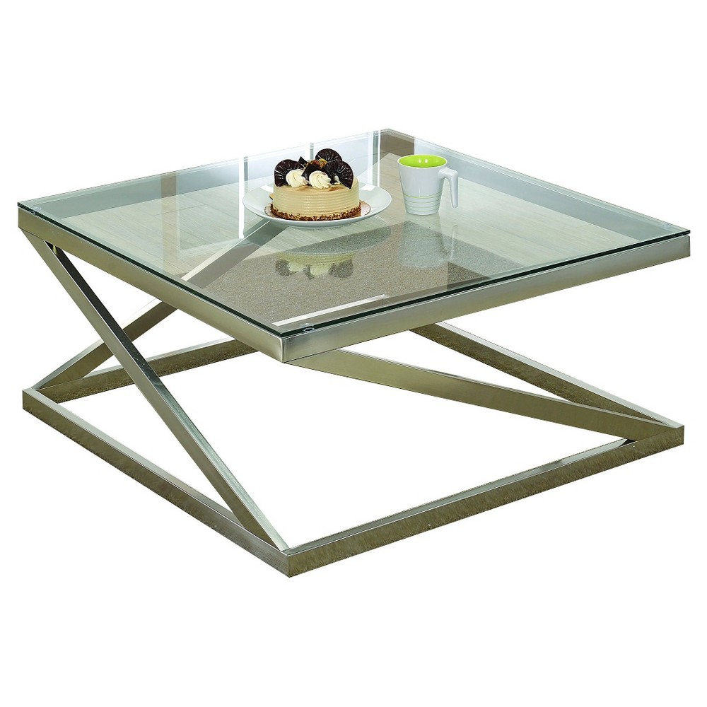 Coffee Table Brushed Nickel Acme Furniture