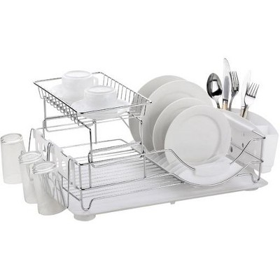 Home Basics Chrome Plated Steel 2 Tier Deluxe Dish Drainer
