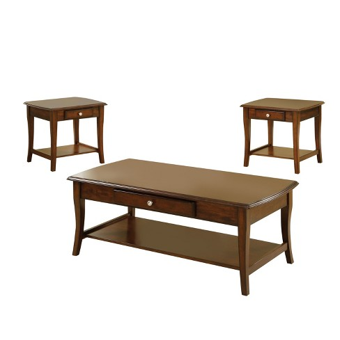Sun & Pine 3pc Windrell Transitional Accent Table Set Dark Oak - image 1 of 4