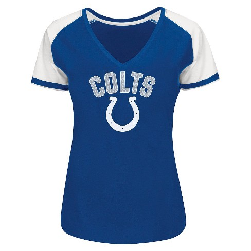 Indianapolis Colts Women's Raglan V Neck T Shirt XL : Target