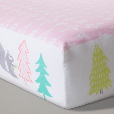 Fitted Crib Sheet Flowers & Animals - Cloud Island™ Light Pink