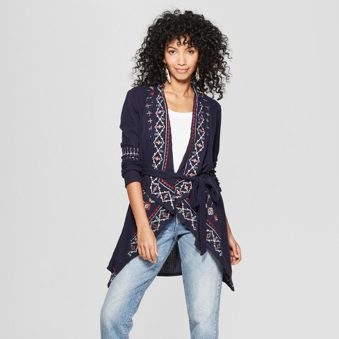 Women s Long Sleeve Embroidered Waffle Cardigan - Knox Rose™ Navy f6eb27dd8