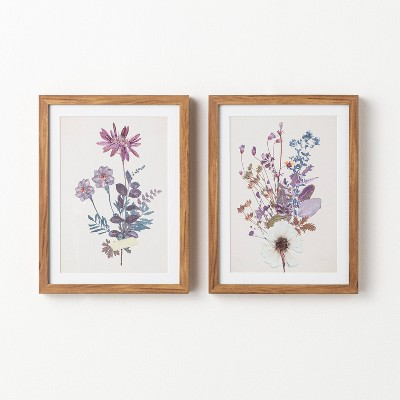 """(Set of 2) 12"""" x 16"""" Pressed Fiori Framed Wall Arts - Threshold™ designed with Studio McGee"""