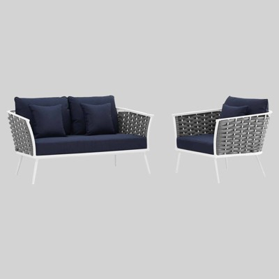 Stance 2pc Outdoor Patio Aluminum Sectional Sofa Set - Modway