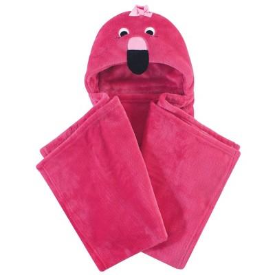 Hudson Baby Unisex Baby and Toddler Hooded Animal Face Plush Blanket - Flamingo One Size