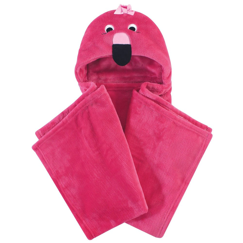 Hudson Baby Unisex Baby And Toddler Hooded Animal Face Plush Blanket Flamingo One Size