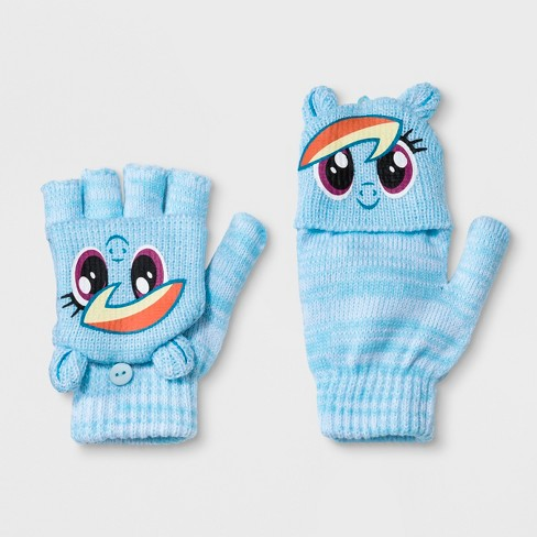Girls' My Little Pony Rainbow Dash Fliptop Gloves - Blue One Size : Target