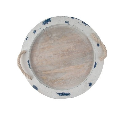 """14"""" Mango Wood Round Serving Tray with Rope Handles - Thirstystone"""