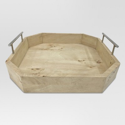 Burled Wood Tray with Metal Handles Small - Project 62™