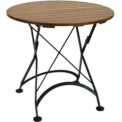 "Sunnydaze Indoor/Outdoor European Chestnut Wood Portable Folding Round Patio Bistro Table - 32"" - Brown"