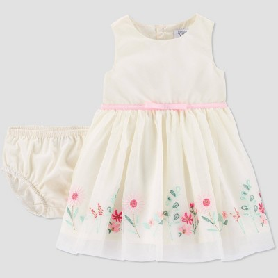 Baby Girls' Floral Border Dress - Just One You® made by carter's Cream Newborn