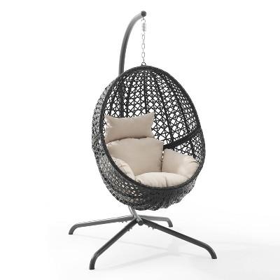 Calliope Indoor/Outdoor Wicker Hanging Egg Chair & Stand - Sand - Crosley