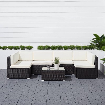 Venice 6pc Classic Outdoor Wicker Sectional Sofa with Seat and Back Cushion - Black - Vifah