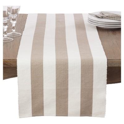 "Taupe Classic Stripe Design Table Runner (16""x72"")- Saro Lifestyle"