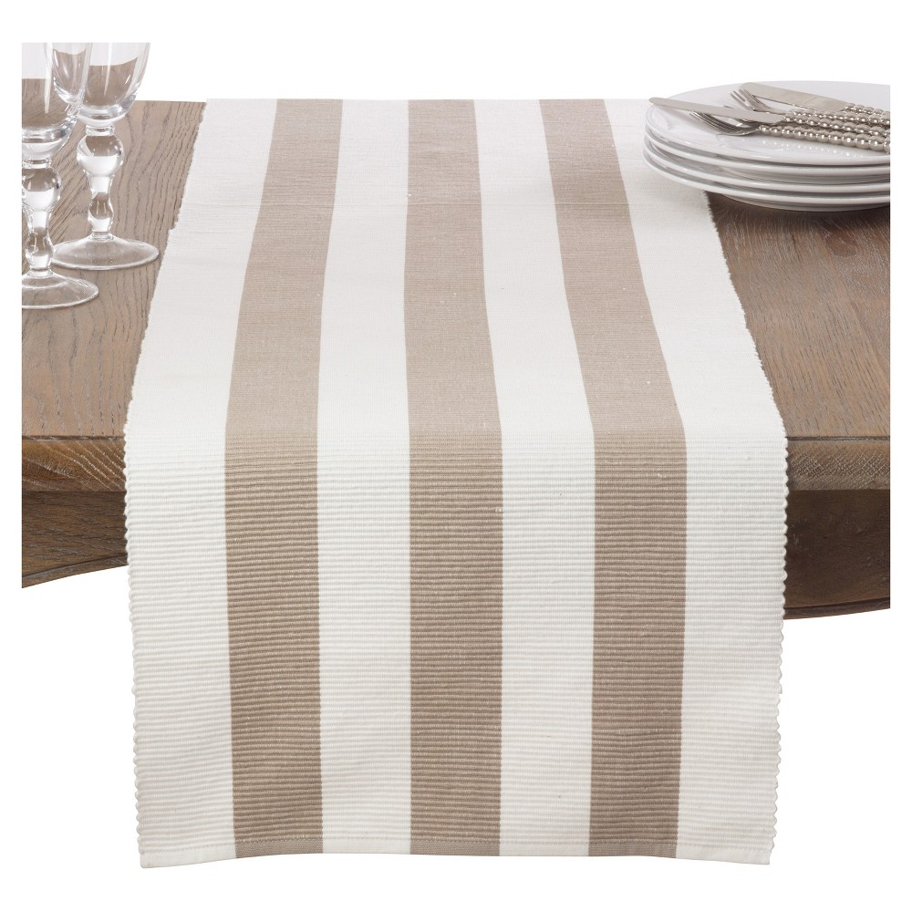 Taupe Classic Stripe Design Table Runner 16 34 X72 34 Saro Lifestyle