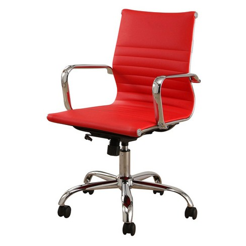 Jackson Silver Finish Leather Office Chair Red Abbyson