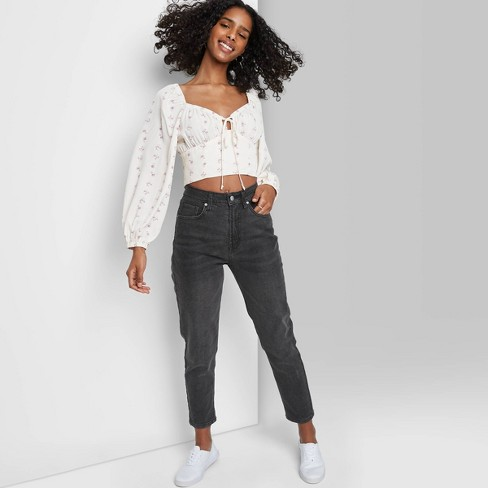 Women's Super-High Rise Mom Taper Jeans - Wild Fable™ Black - image 1 of 3
