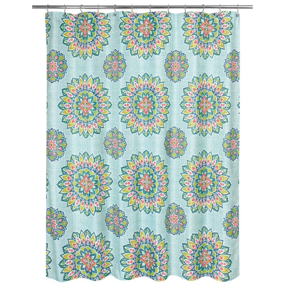 Image of Ariel Medallion Shower Curtain Green - Allure Home Creation