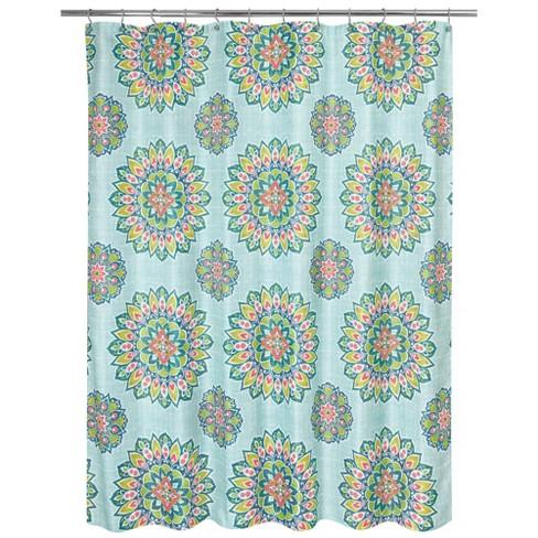 Ariel Medallion Shower Curtain Green