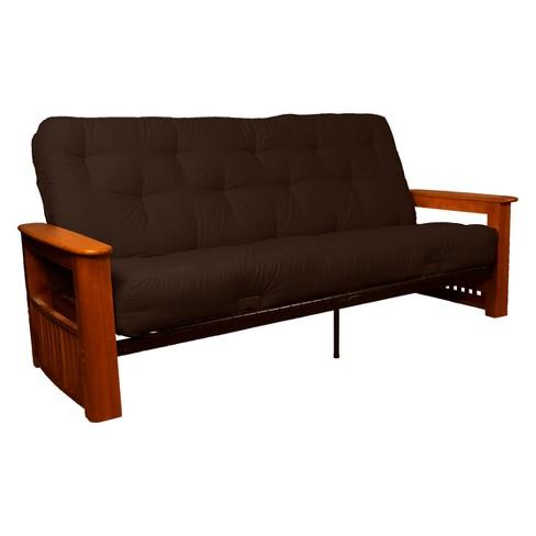 "Flip Top Arm 8"" Inner Spring Futon Sofa Sleeper - Walnut Wood Finish - Sit N Sleep - image 1 of 1"