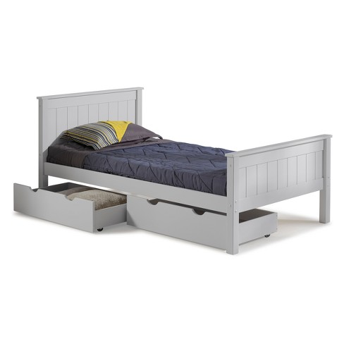 Harmony Twin Bed With Storage Drawers Dove Gray Bolton Furniture