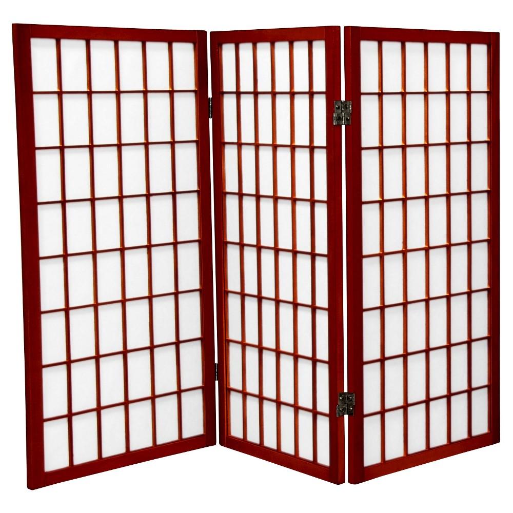 Image of 3' Tall Window Pane Shoji Screen - Rosewood (3 Panels) - Oriental Furniture, Burgandian Red