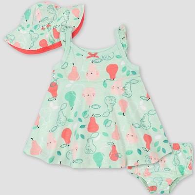 Gerber Baby Girls' 3pc Pear Sundress Set - Green 0-3M