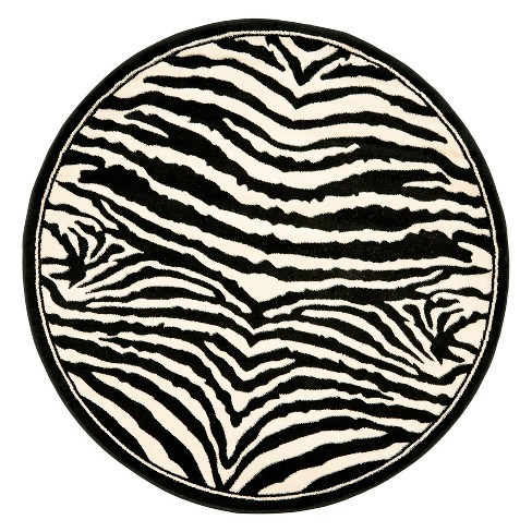 Loomed Round Area Rug White Black