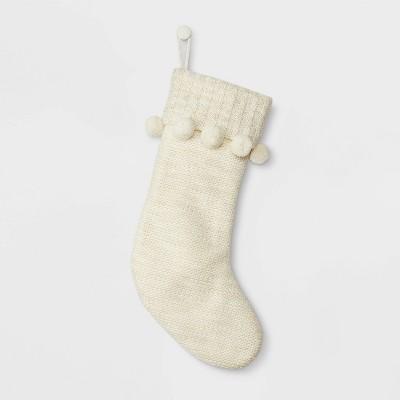 Pompom Knit Christmas Stocking Ivory - Wondershop™