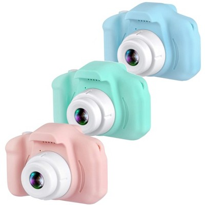 """Dartwood 1080p Digital Camera for Kids with 2.0"""" Color Display Screen & Micro-SD Card Slot for Children, SD Card Included (3 Pack, Pink/Green/Blue)"""