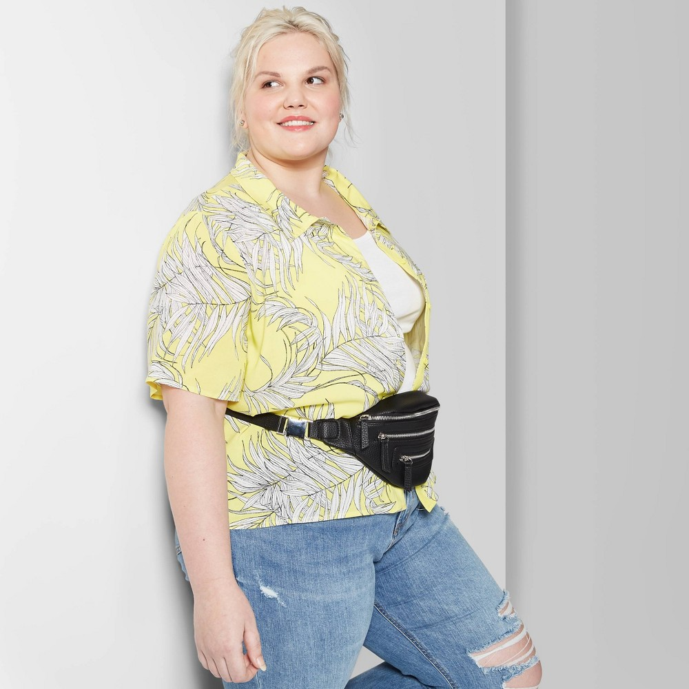 Women's Plus Size Floral Print Short Sleeve Button-Down Shirt - Wild Fable Yellow 1X