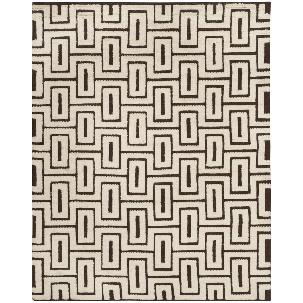8'X10' Geometric Knotted Area Rug Ivory/Brown - Safavieh, White