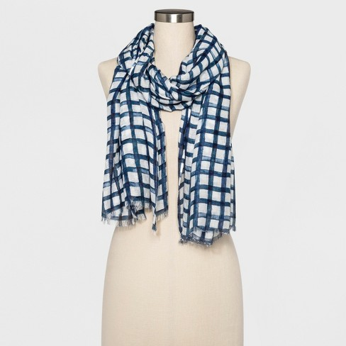 Womens Plaid Oblong Scarf A New Day Navy Target
