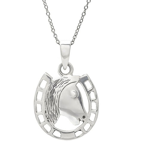 Women's Journee Collection Horseshoe Necklace in Sterling Silver - Silver - image 1 of 2