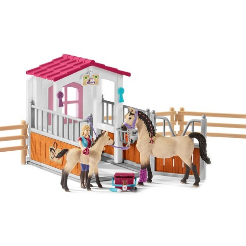 Schleich Horse Club Horse Stall with Arabian Horses and Groom Playset - image 1 of 9