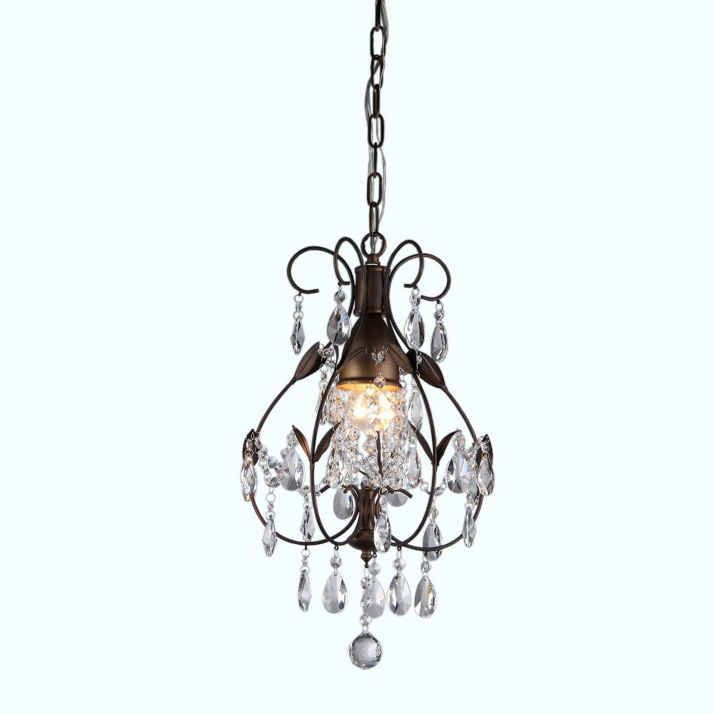 """Cheap 12"""" x 12"""" x 56"""" Maleficent 1 Light Chandelier and Crystals Brown - Warehouse of Tiffany"""