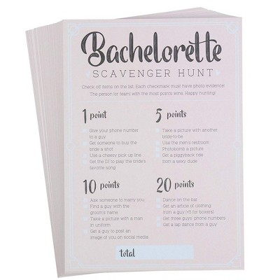 Bachelorette Party Game, 50-Pack Bar Scavenger Hunt Drinking Games and Dares, Fun Novelty Cards for Adults, Girls Night Out, Bridal Shower