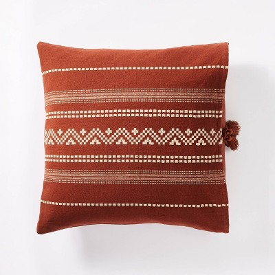 Square Woven Textured Throw Pillow Rust - Threshold™ designed with Studio McGee