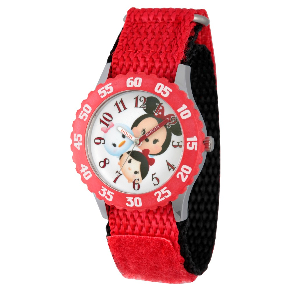 Kids Disney Watches Red, Girl's Telling time is simple with this high-quality red stainless steel watch with a quartz movement and analog time display display. This classy sports Tsum Tsum timepiece comprises an analog time display. Gender: Female. Age Group: Kids.