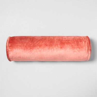Velvet Bolster Throw Pillow Coral - Opalhouse™