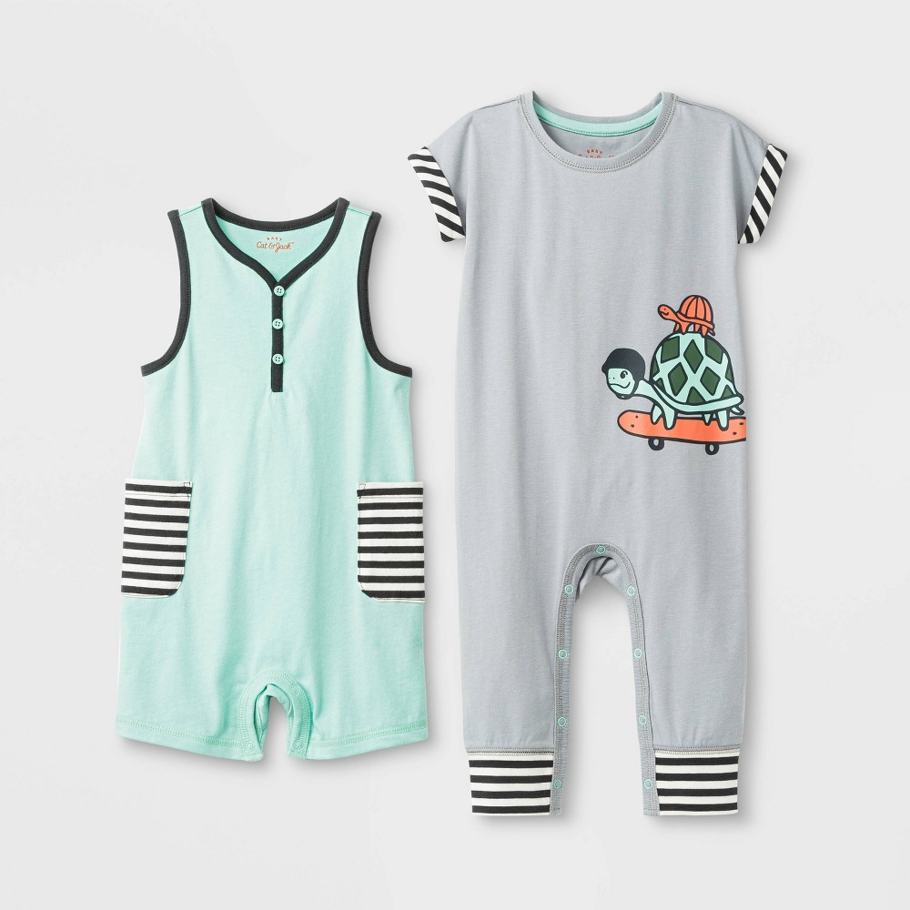 Baby Boys' 2pc Sleeveless Short & Dolman Turtle Rompers - Cat & Jack Green/Light Gray 0-3M, Green Gray