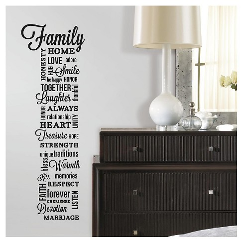 roommates family quote peel and stick wall decals : target